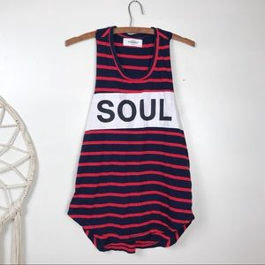 """Soulcycle Striped Graphic """"Soul"""" Tank"""